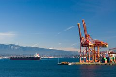 Harbor Cranes. Port of Vancouver. Container terminal stock images