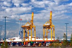 Harbor cranes Stock Photography