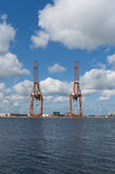 Harbor cranes Stock Images