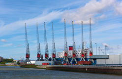 Harbor cranes. Cranes in the Rotterdam Europort harbor, Netherlands Royalty Free Stock Photo