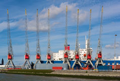 Harbor cranes. Cranes in the Rotterdam Europort harbor, Netherlands Royalty Free Stock Images