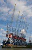 Harbor cranes. Cranes in the Rotterdam Europort harbor, Netherlands Stock Photo