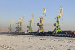 Harbor cranes in cargo container port, sea canal, Saint-Petersbu Stock Image