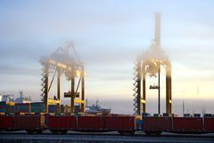 Harbor cranes in early morning Royalty Free Stock Photography