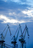 Harbor Cranes in the Evening Stock Photography