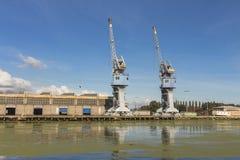Harbor cranes in Gdansk. Poland.  royalty free stock photo