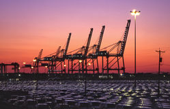 harbor cranes and imported autos Royalty Free Stock Images