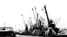 Harbor cranes for loading cargo ship. (timelapse stock video footage
