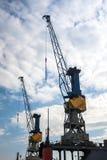 Harbor cranes in the quay in the harbor Hamburg Stock Photos