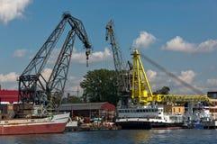 Harbor cranes in Saint Petersburg Stock Images