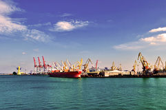 Harbor. Departure of the cargo ships in the port Royalty Free Stock Photography