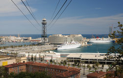 Harbor district in Barcelona, Spain Stock Images