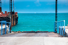Harbor. Dock is a part of the shipping industry Stock Images