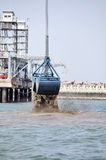 Harbor Dredging. Dredging in a Industrial Harbor near Casablanca in Morocco Royalty Free Stock Image