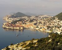 The harbor of  Dubrovnick Croatia. This photo was taken from a vantage point high in the hills above Dubrovnik Croatia. Croatia was a one time a member of the Stock Images
