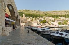 Harbor Dubrovnik. Croatia. DUBROVNIK, CROATIA - MAY 15, 2013: Boats moored in the port of Dubrovnik, Croatia.  On 15 May 2013 in Dubrovnik, Croatia Stock Photos