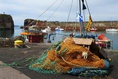Harbor of Dunbar. Fishin gear in tthe harbor of Dunbar in Scotland, UK Stock Images