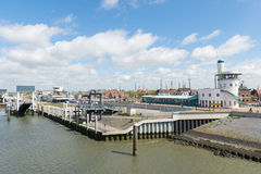 Harbor in Dutch Harlingen Royalty Free Stock Photography