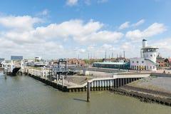Harbor in Dutch Harlingen. Arrival and department harbor for wadden island Terschelling in Dutch Harlingen Royalty Free Stock Photography