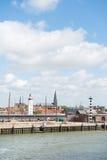 Harbor in Dutch Harlingen. Arrival and department harbor for wadden island Terschelling in Dutch Harlingen Royalty Free Stock Images