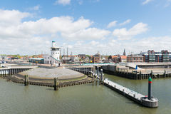 Harbor in Dutch Harlingen Stock Photo