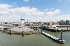 Harbor in Dutch Harlingen. Arrival and department harbor for wadden island Terschelling in Dutch Harlingen Stock Photo