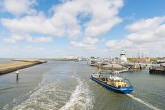 Harbor in Dutch Harlingen. Arrival and department harbor for wadden island Terschelling in Dutch Harlingen Stock Photography