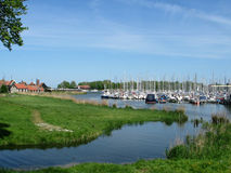 Harbor Enkhuizen. Quiet harbor in Enkhuizen on IJsselmeer lake royalty free stock images