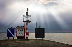 Harbor entrance beacon Royalty Free Stock Images