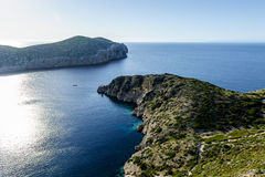Harbor entrance, Cabrera island, Mediterranean sea. Cabrera island, Mediterranean sea landscape. View from the fortress at heel stock photography