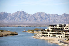 Harbor entrance Lake Havasu. The harbor entrance to Lake Havasu City with houses and apartment buildings on Lake Havasu Stock Image