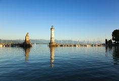 Harbor entrance of Lindau at lake Constance Stock Photos