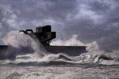 Harbor entrance storm stock photos