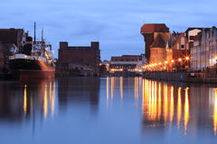 Harbor in the evening. Gdansk, Poland Royalty Free Stock Image