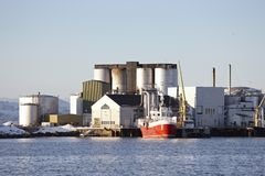 Harbor factory in Norway Stock Images