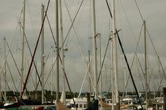 Sailing Masts Outing The Cloudy Sky stock photos