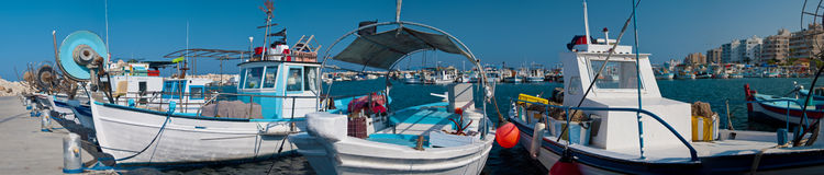 Harbor with fishing boats Stock Images