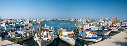 Harbor with fishing boats Royalty Free Stock Images