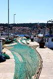 Harbor with fishing net Royalty Free Stock Image