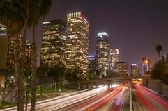 Harbor Freeway At Night Royalty Free Stock Image