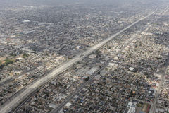 Harbor Freeway South Central Los Angeles Aerial. Los Angeles, California, USA - March 22, 2014:  Aerial of Harbor 110 Freeway and dense communities in South Royalty Free Stock Photos