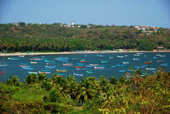 A harbor full of colorful boats in Candolim Stock Photography