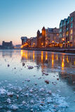 Harbor of Gdansk old town. Old town in Gdansk with frozen Motlawa river at dusk, Poland Stock Image