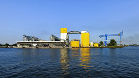 Harbor Gdansk  Poland. chemical wharf, loading vessel Royalty Free Stock Photography