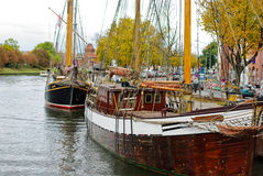 Harbor of German city Luebeck in autumn colors Royalty Free Stock Photos