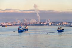 Harbor of Gibraltar and a spanish banks early in the morning at sunrise royalty free stock images