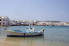 Harbor greek island. Greek island harbor with fishing boat mykonos cyclades greece royalty free stock photo