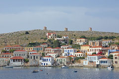 The harbor on the greek island Chalki Stock Image