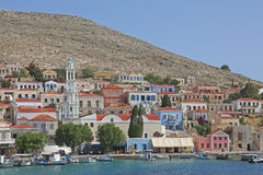 The harbor on the greek island Halki Royalty Free Stock Images
