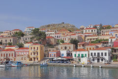The harbor on the greek island Halki Royalty Free Stock Photo
